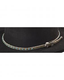Faux Turquoise Stone with Silver-Tone Beaded Edge Leather Hat Band