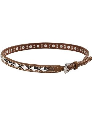 Leather Hair-on-Hide Diamond Conchos with Studs Hat Band