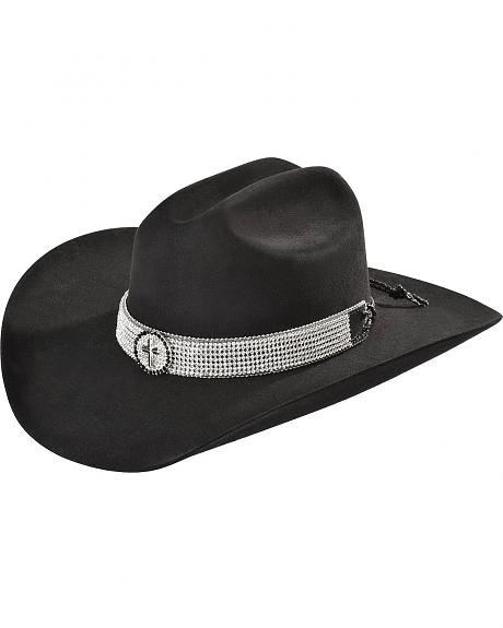 Katydid Rhinestone Embellished Cross Concho Leather Hat Band