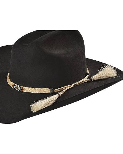 Tan Beaded Horsehair Hat Band Western & Country HH49C
