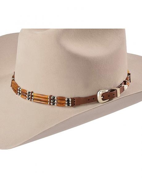Brown Bone Beads & Buckle Set Hat Band