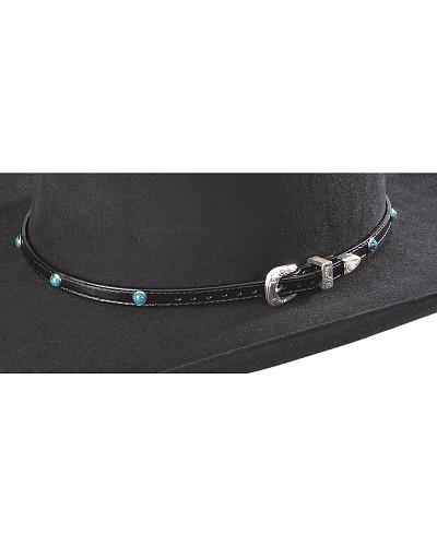 Faux Turquoise Stone Leather Hat Band Western & Country LC82 BK