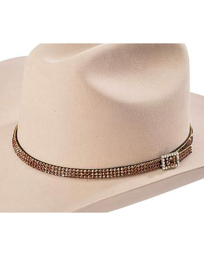 Brown Rhinestones Hat Band Western & Country H864
