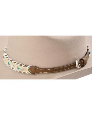Faux Turquoise & Rhinestone Hair-On-Hide Hat Band