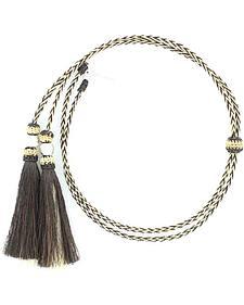 Black & Blonde Braided Horsehair Tassels Stampede String