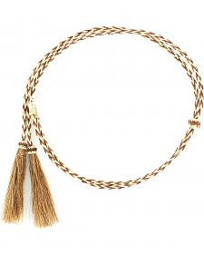 Blonde & Tan Braided Horsehair Tassels Stampede String