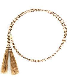 Blonde & Tan Braided Horsehair Tassels Stampede String