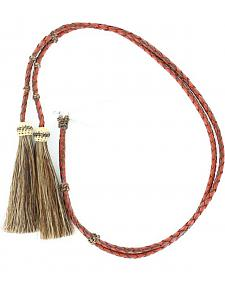 Red & Brown Braided Leather with Horsehair Tassels Stampede String
