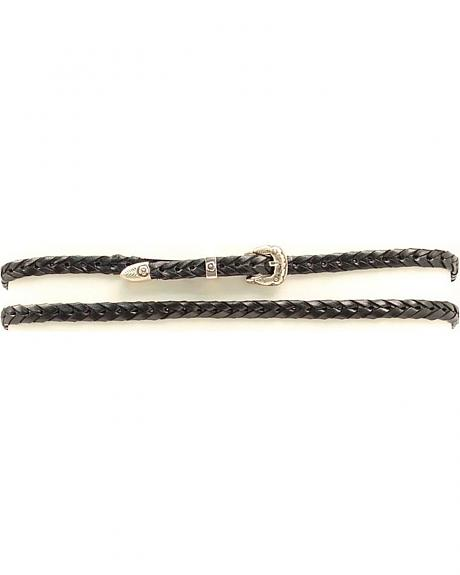 Black Braided Leather Hat Band