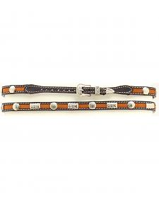 Two-tone Studded Leather Hat Band