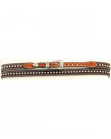 Brown Hair-on-Hide Studded Hat Band