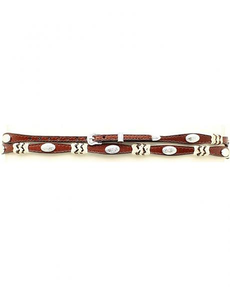 Brown Scalloped Leather Rawhide Laced Hat Band