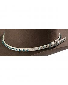 Western Express Women's White Hatband with Blue Rihinestones