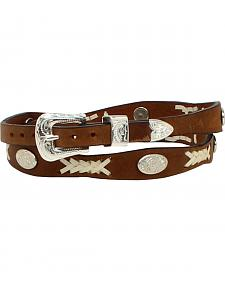 M & F Western Men's Rawhide Leather Oval Concho Hatband