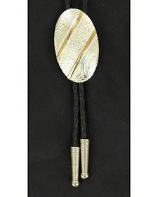 Oval Gold Striped Bolo Tie