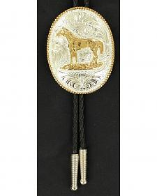 Engraved Gold-tone Horse Bolo Tie