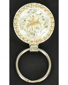 Silver & Gold-Tone Bucking Bronco Key Ring