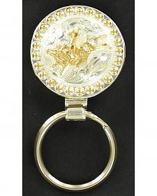 Silver & Gold-Tone Bucking Bull Key Ring