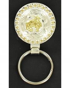 Silver & Gold-Tone Bull Rider Key Ring