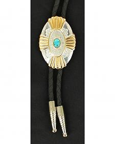 Oval Silver-tone & Gold-tone Faux Turquoise Bolo Tie
