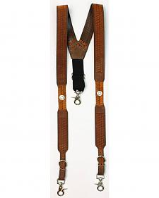 Nocona Embossed Basketweave Star Concho Suspenders