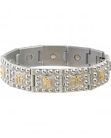 Sabona Men's Horse Head & Crosses Duet Magnetic Bracelet