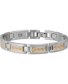 Sabona Men's Greek Key Duet Magnetic Bracelet