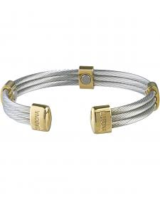 Sabona Men's Trio Cable Stainless Steel & Gold Magnetic Wristband