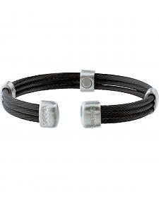 Sabona Trio Cable Black & Satin Stainless Magnetic Wristband