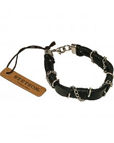 Stetson Men's Chain Wrapped Leather Wristband