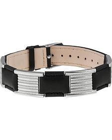 Sabona of London Black Leather Dress Stainless Magnetic Bracelet