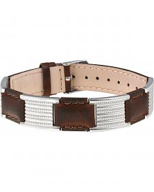 Sabona of London Brown Leather Dress Stainless Magnetic Bracelet