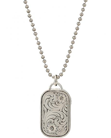 Montana Silversmiths Men's Stainless Steel Filigree Dog Tag Necklace