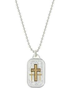 Montana Silversmiths Men's Stainless Steel Golden Cross Necklace