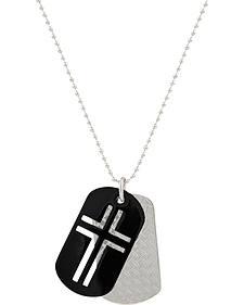 Montana Silversmiths Men's Stainless Steel Cross Token Necklace