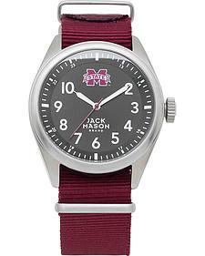 Jack Mason Men's Mississippi State Bulldogs Solid Nato Strap Watch
