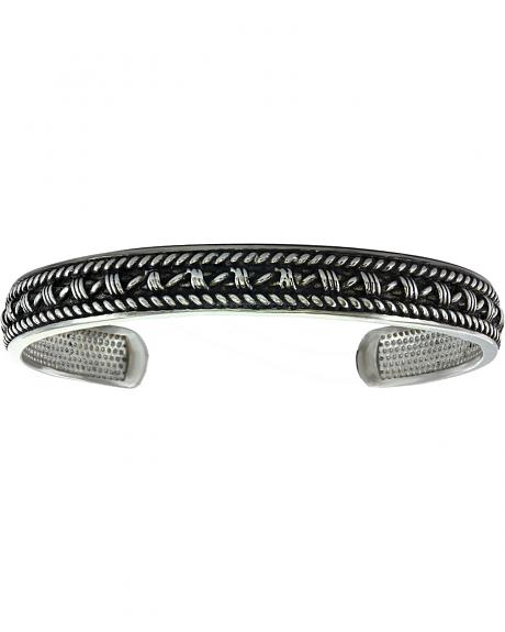 Montana Silversmiths Men's Narrow Antiqued Barbed Wire and Twisted Rope Cuff Bracelet