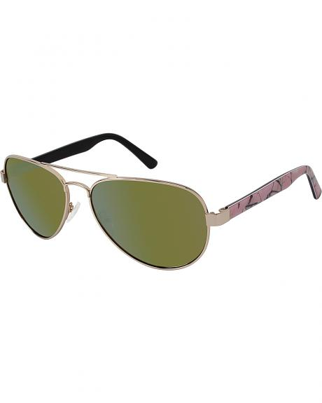 Realtree Womens Pink Camo Aviator Sunglasses