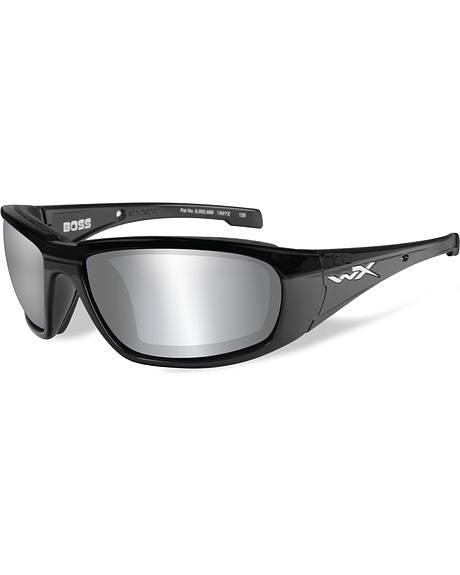 Wiley X Men's Boss Silver Flash Smoke Grey Gloss Black Sunglasses