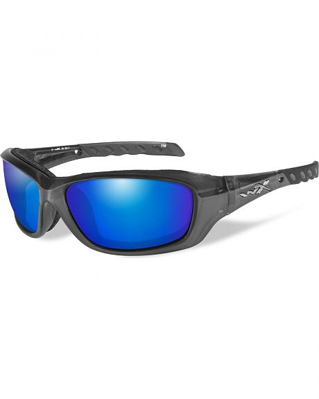Wiley X Gravity Blue Mirror Black Crystal Sunglasses