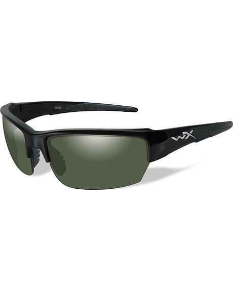 Wiley X Saint Polarized Smoke Green Gloss Black Sunglasses