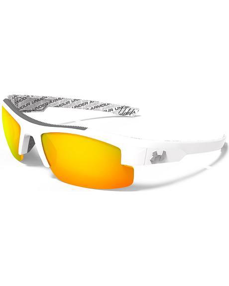 Under Armour Boys' Shiny White Orange Multiflection Nitro Sunglasses