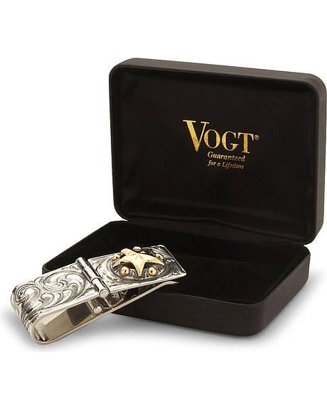 Vogt Texas Star Antiqued Sterling Silver Money Clip