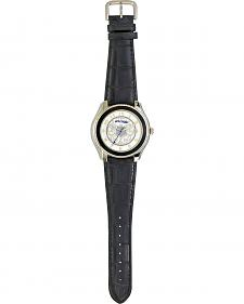 Monatana Silversmiths Filigree Leather Band Watch
