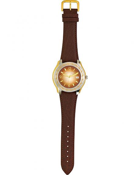 Montana Silversmiths Barbwire Leather Band Watch