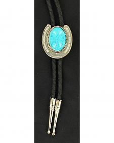 Horeshoe & Faux Turquoise Stone Bolo Tie
