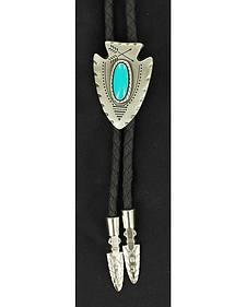Arrowhead & Faux Turquoise Stone Bolo Tie