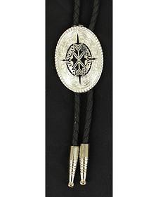 Black & Silver-tone Aztec Bolo Tie