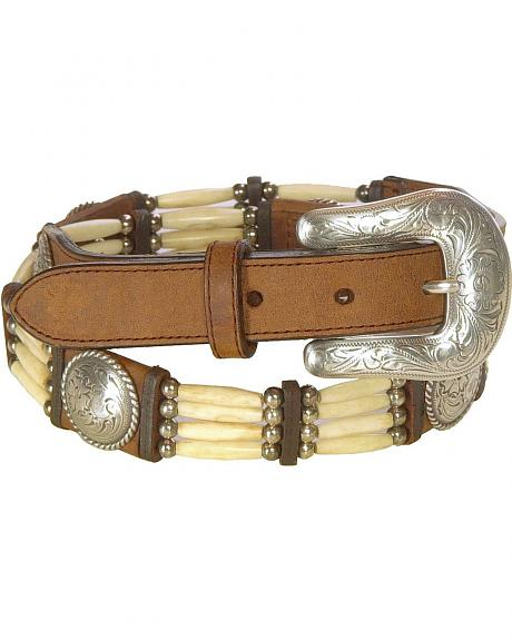 Tony Lama Bone Bead Leather Belt