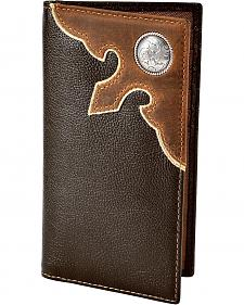 Nocona Leather Overlay with Concho Checkbook Wallet